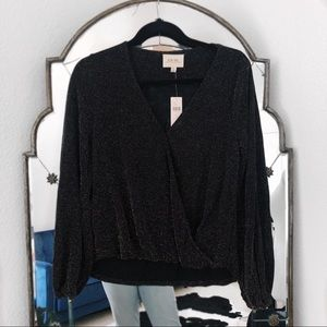 NWT Anthropologie black sparkly long sleeve blouse